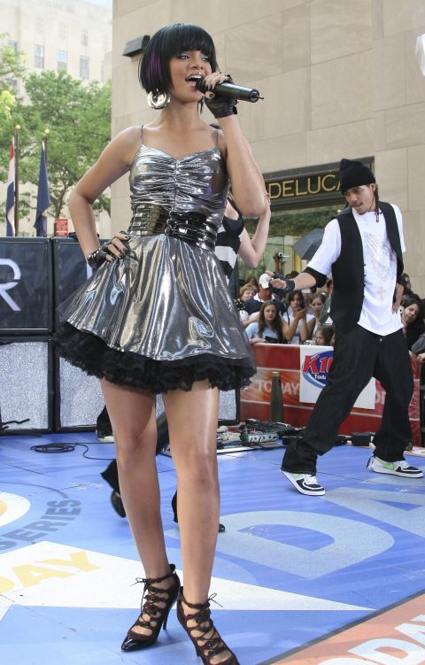Rihanna performed on the Today Show in June 2007—wearing a short, metallic party dress that would make any '90s Barbie jealous. (This was just a few months before she embarked on her Good Girl Gone Bad Tour.)