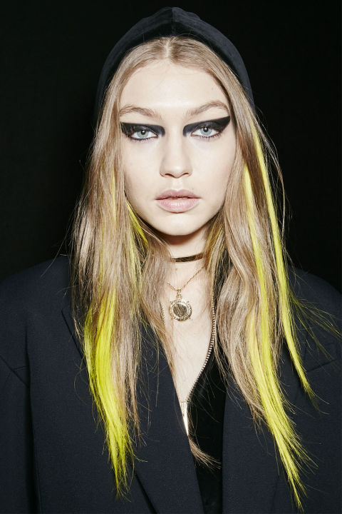 """Makeup artist Pat McGrath used the Versace show to debut a new black shadow stick (available in her Dark Star #006 set) that's somehow both matte and slick. """"It's so creamy and so incredible to blend and dries completely,"""" she says."""