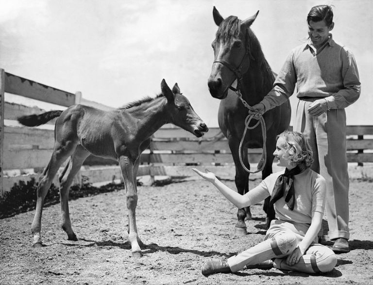 Carole Lombard and Clarke Gable at home on their ranch