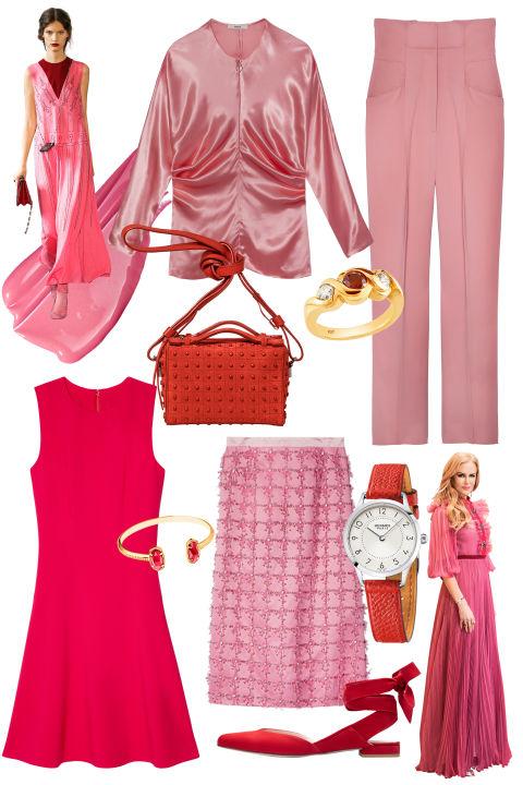 As máscaras corajosas do rosa refrescam clássicos elegantes. & Nbsp; A partir da parte superior esquerda, no sentido dos ponteiros do relógio: & nbsp; CoverGirl Outlast All-Day Color & amp; Brilho no rosa apaixonado, $ 10, covergirl.com; Bally top, $ 1.395, bally.com; Calças de Ermanno Scervino, $ 850, 305-866-5996; Relógio de Hermès, $ 2,975, hermes.com; Sapata de Stuart Weitzman, $ 398, stuartweitzman.com; Kate Spade New York vestido, $ 298, katespade.com; Pulseira de Kendra Scott, $ 65, kendrascott.com; Saco de Tod, $ 1.215, 855-303-3253; Anel de Alberto, $ 4.800, albertocollections.com; J. Crew skirt, $ 595, jcrew.com. & Nbsp;