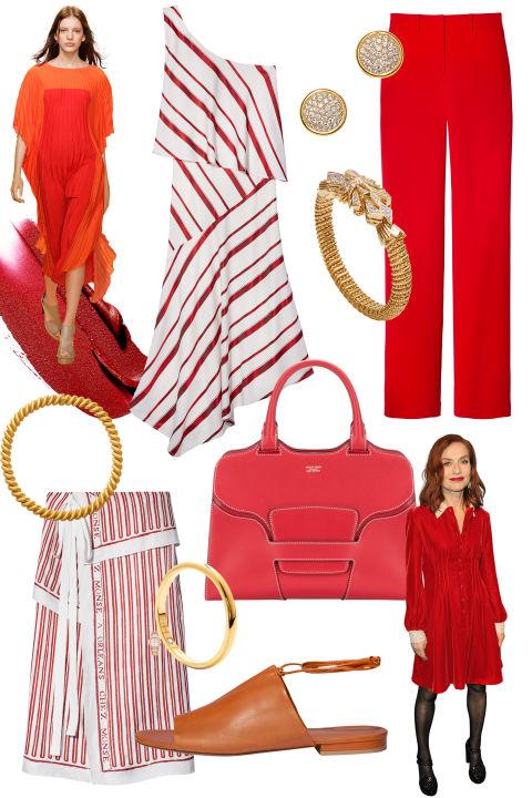 Vestido como todos os dias é um feriado em ladylike vermelho e bronzeado. & Nbsp; Do alto esquerdo, no sentido horário: & nbsp; Banana Republic dress, $ 158, bananarepublic.com; Le Vian brincos, $ 13.495, levian.com; Adam Lippes calça, $ 690, lojaBAZAAR.com; Vahan pulseira de jóias, 800-365-6101; Saco de Giorgio Armani, $ 2,495, armani.com; Sandália Vince, $ 250, vince.com; Corações no anel do fogo, $ 475, heartsonfire.com; Saia Monse, $ 990, estilos similares disponíveis em shopBAZAAR.com; Estée Lauder Batom Love Pure Color em Burning Love, $ 22, esteelauder.com.
