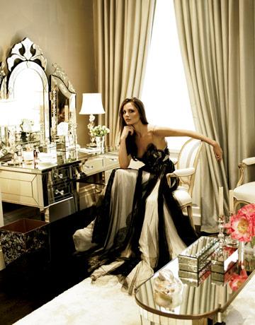 georgina chapman in marchesa gown sitting at vanity