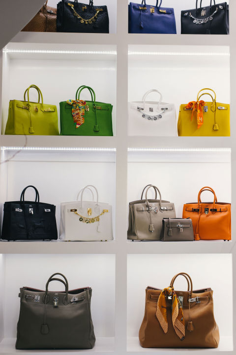 Hermes Birkins in an array of colors and sizes