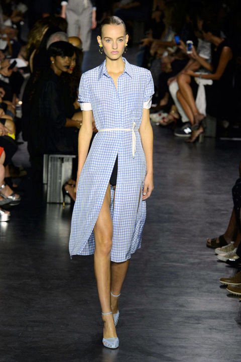 This isn't the gingham of childhood picnics or Easter Sundays. Designers stayed in check, leveraging the pattern's graphic edge on slit-up-to-there dresses (Altuzarra), chic knits (Oscar de la Renta) and cool blouses in black and white (Proenza Schouler) that are decidedly adult. Pictured: Altuzarra Spring 2015