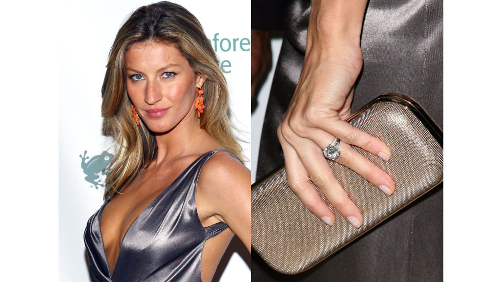 Tom Brady gave Gisele a four-carat diamond solitaire ring when they became engaged in late 2008. The couple married during a private ceremony in February 2009.