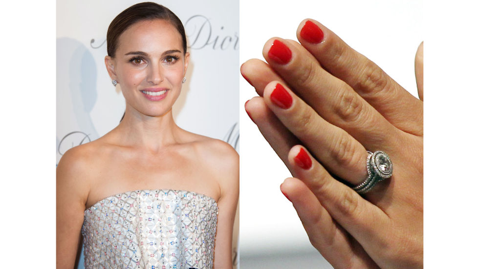 Portman's fiancee, Benjamin Millepied, and jeweler Jamie Wolf designed the Oscar winner's ring with her environmentally-conscious ideals in mind: the diamond is an antique and the surrounding pavé diamonds are conflict free, while the band is made of recycled platinum.