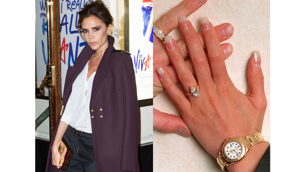 David Beckham proposed to Victoria Adams with a three-carat marquise-cut diamond.