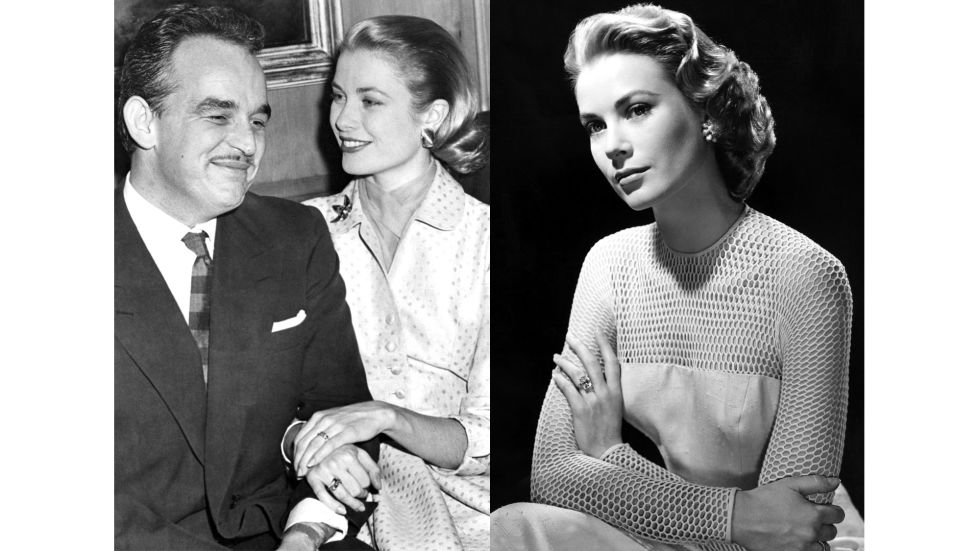Princess Grace originally received a Cartier eternity band (left) comprised of rubies and diamonds from Prince Rainier III of Monaco, but he soon swapped it for a 10.5-carat Cartier diamond ring.