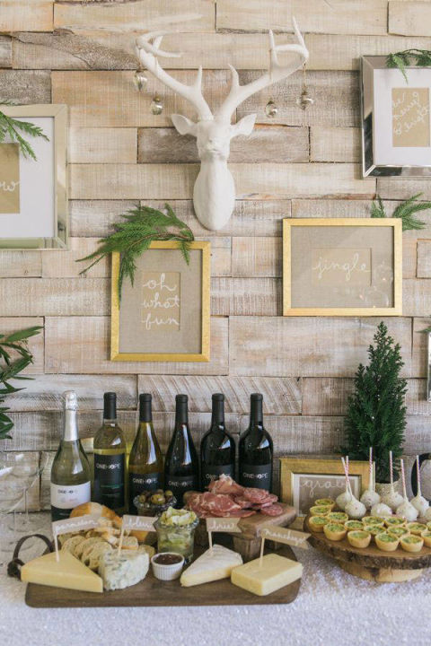 Wine and cheese platters make for the ultimate party. Style your tabletop with white, gold and dashes of decorative tree branches for the perfect rustic chic look.   via @IBTblog