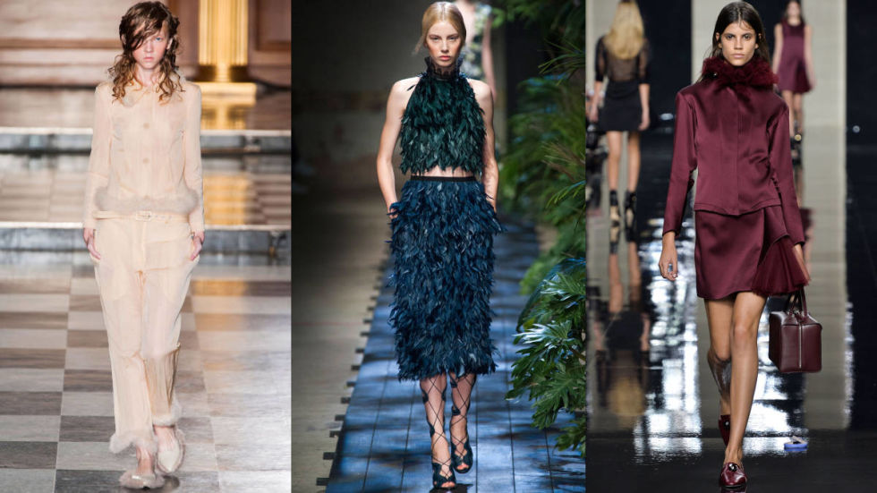 Feathers are making a triumphant return to the runway, in manners both bold and subdued. Erdem went all in on a waxy deep green and blue plumed dress that's all drama—much like the peacock we assume it was inspired by. Christopher Kane took advantage of his London setting on looks that reference monarchs past (way past) on jackets with feather ruffs and waists. Simone Rocha is the most subtle with airy monochrome wisps of feathers on the ends of jackets and dresses that seem to move on their own accord (take flight?).