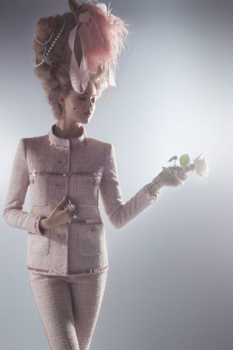 Karl lagerfeld and lindsey wixson photo shoot spring 39 s for Chanel haute couture price range