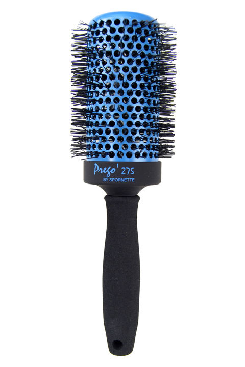 Want tumbling Gisele waves? This aerated three-inch brush creates a supermodel smooth finish thanks to a stable tourmaline core. Spornette Prego 275 Brush, for purchasing inquiries visit spornette.com.