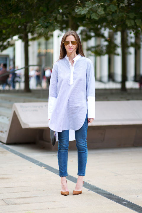 Mallory Schlau in Adam Lippes tunic and Manolo Blahnik shoes