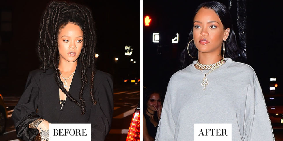 When:October 12, 2016 What:Slick and shiny hair Why we love it:And just like that, Rihanna's amazing locs moment has come to an end. We loved it while it lasted.The singer stepped out last night sporting long hair so shiny, you'd never know it just went through a drastic transformation. But such is the magic of Rihanna.