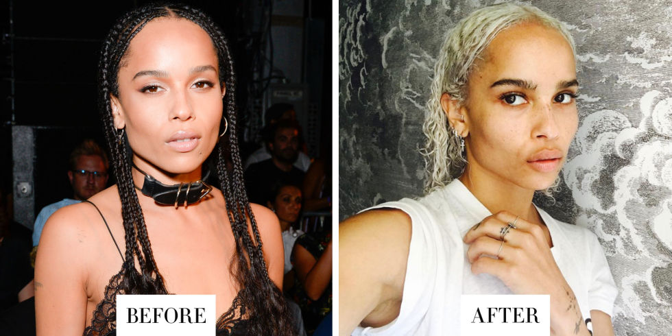 When:October 24, 2016 What:Platinum hair Why we love it:There's perhaps no hair transformation more drastic than going platinum blonde, yetZoë Kravitz pulls it off expertly.We especially love the contrast of her dark brows with her new icy hue.