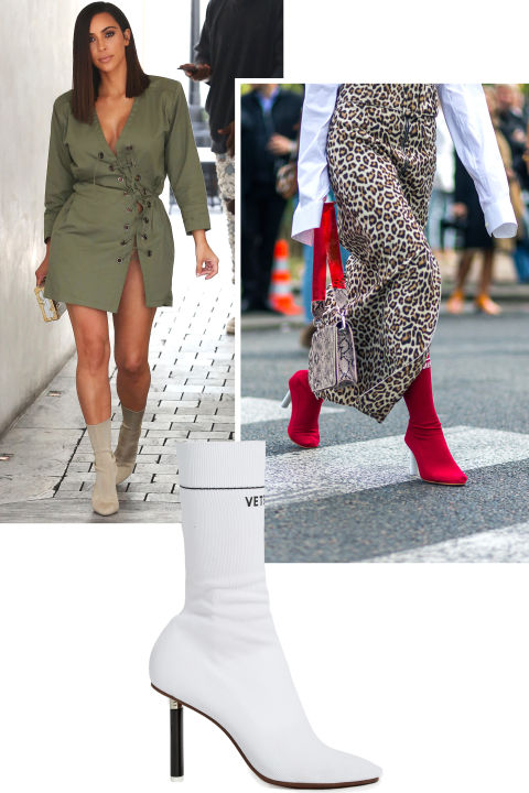 The innovative sock boot came out as a surprise style of the year with versions by both Yeezy and Vetements. Kim Kardashian-West repped the style designed by her husband while the street style set fell hard for the latter.