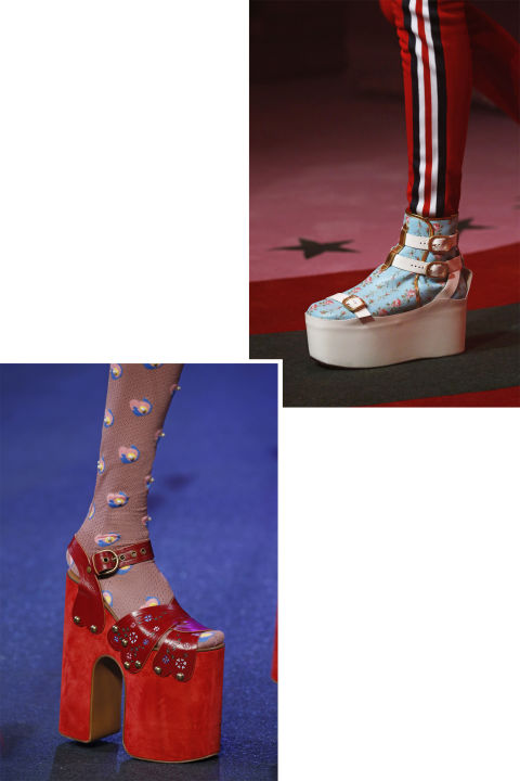 Reach new heights in towering platforms that designers such as Marc Jacobs and Gucci's Alessandro Michele sent stomping down the spring runways.