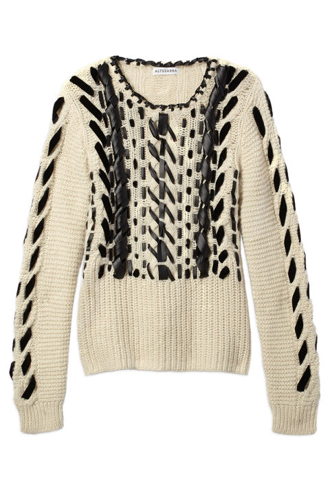 """A cozy sweater is never a bad idea for the holidays—it's like giving a warm hug,"" says Style Director, Joanna Hillman.Altuzarra sweater, $1,195, shopBAZAAR.com."