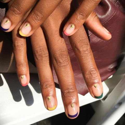 INSPIRED BY:Creatures of Comfort Spring/Summer '17 WHY WE LOVE IT:The French manicure continues to be completely reimagined for 2017. Multicolor tips on the Creatures of Comfort catwalk felt fresh and fun. Diagonally painted blue edges, bold black and white, and thin ribbons of red also prove how far this technique has come. One tip of utmost importance: be sure to coat the base of your nail with a sheer neutral and keep the length short and rounded. @aliciatnails