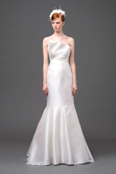 Trumpet satin wedding dress